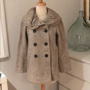 Zara pea coat ruffle collar